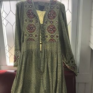 Bohemian style dress. Green with mirror accent s